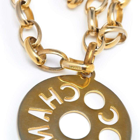 Chanel 1980s Gold Tone Chain Coco Medallion Cutout Necklace