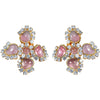 Crystal and Pink Gripoix Glass Cabochon Cluster Earrings