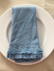 "6 pcs ""Ana 2"" napkin with lace, double cotton embroidery trim, blue"