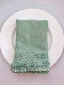 "6 pcs ""Ana 2"" napkin with lace, double cotton embroidery trim,  mint"