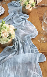 "Cotton Gauze ""simple"" Table Runner, serenity"