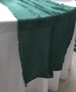 "Cotton Gauze ""simple"" Table Runner, emerald"