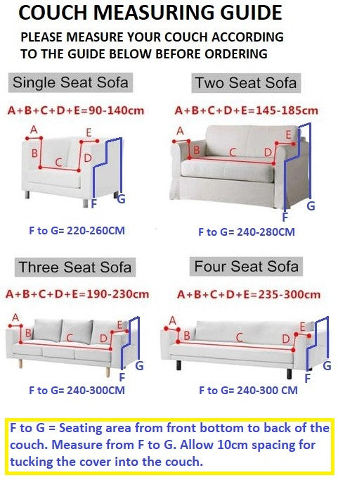 measurement guide for using sofa covers for Coricraft couches
