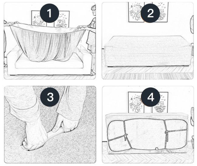 have sofa cover stay in place with foam sticks