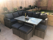 Load image into Gallery viewer, Amalfi ~ 9 Seater Rattan Corner Sofa and Table Set Slate Grey