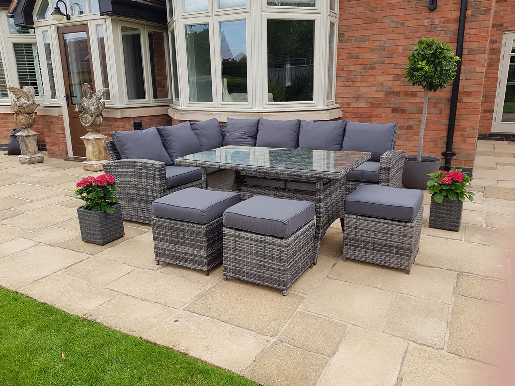 Amalfi ~ 9 Seater Rattan Corner Sofa and Table Set Slate Grey