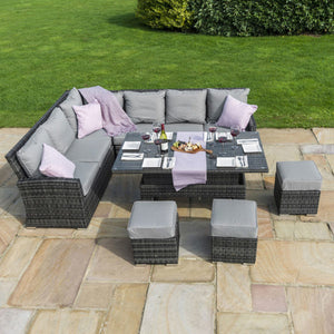 Sorrento Corner Sofa Dining Set with Raising Table Grey Rattan