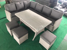 Load image into Gallery viewer, Amalfi~ 9 Seater Rattan corner sofa and table set- Light Grey