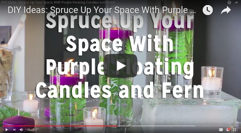 Spruce Up Your Space with Purple Floating Candles & Fern!