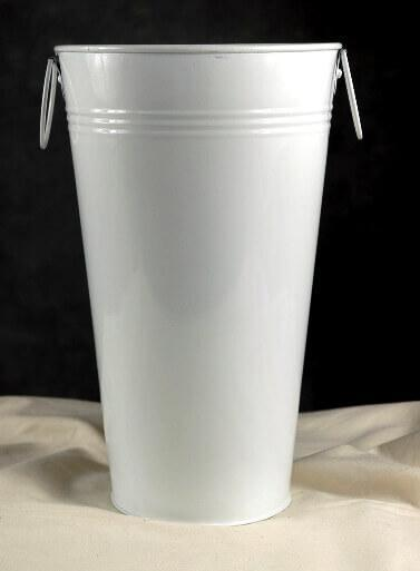 "11"" White Flower Market Buckets with handles"