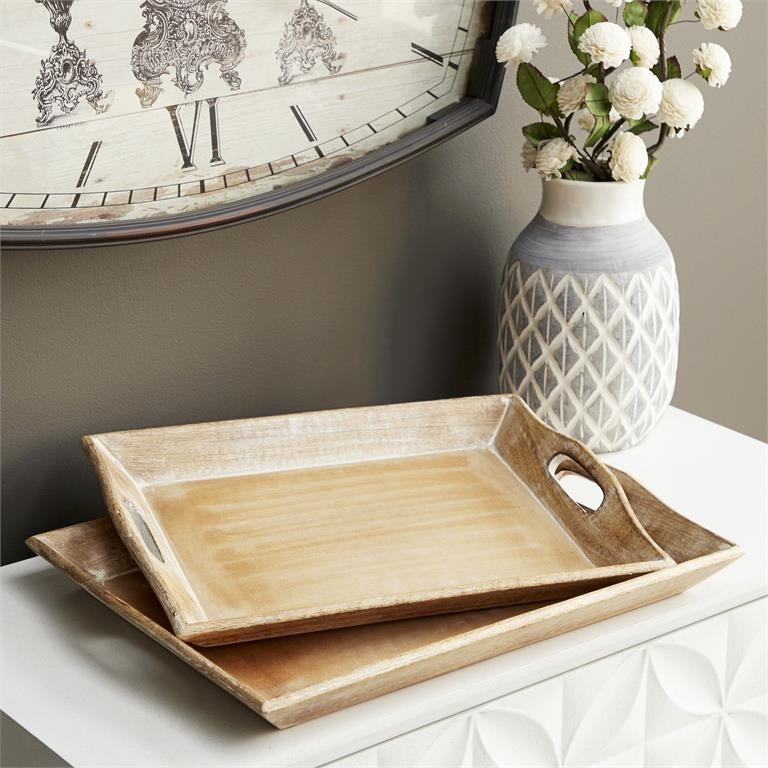 Richland Wood Tray Whitewashed Set of 2