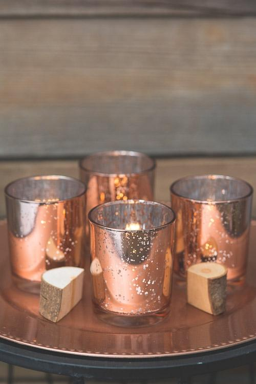 Richland Votive Holder Grande Rose Gold Mercury Set of 72