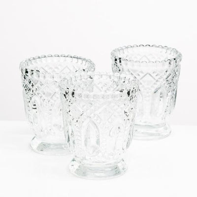 richland votive holder clear textured glass with base set of 48