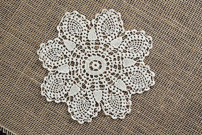 "12 Pineapple 6"" Crochet Doilies Ecru"
