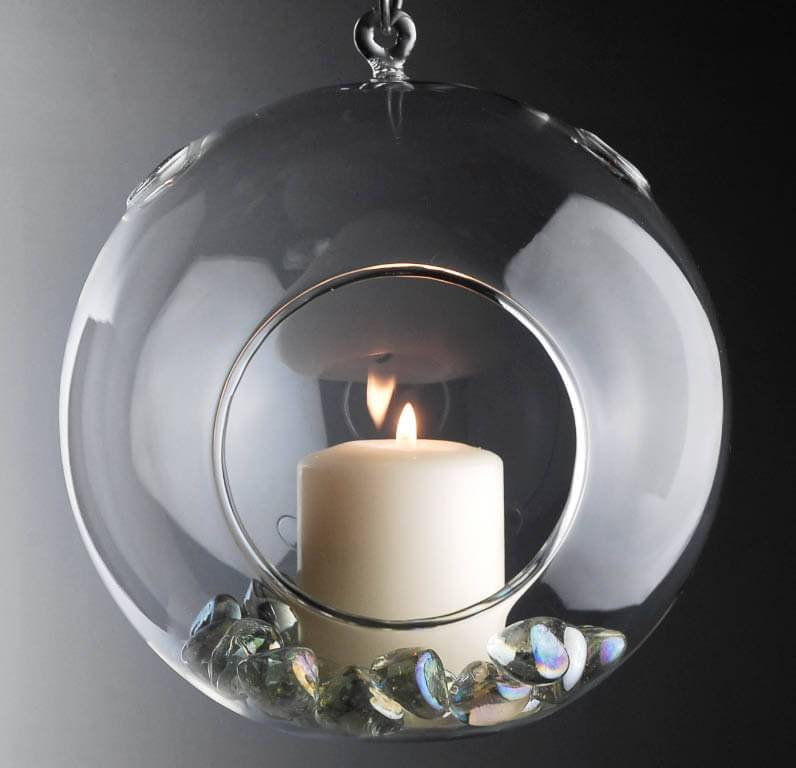"Flat Bottom 7"" Clear Hanging Glass Balls, Candleholder, Terrariums"