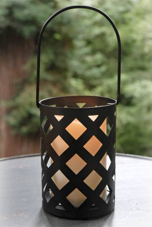 battery operated candle lantern hanging black criss cross timer