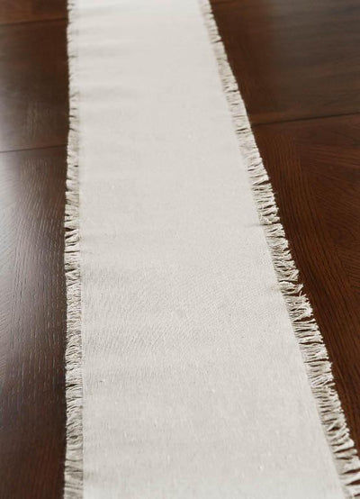 fringed edge linen table runner chair sash 108in