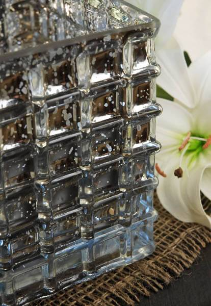 silver mercury glass 6 cube vase candle holder