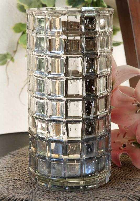 silver mercury glass cylinder vase 10in