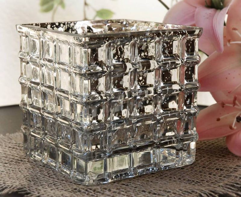 mercury glass4 3 4 cube vase candle holders