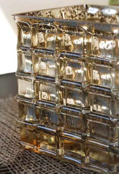 gold mercury glass 4 3 4 cube vase candle holder