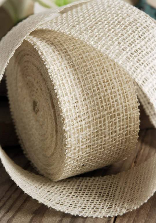 White Burlap Ribbon 2in x 10yds
