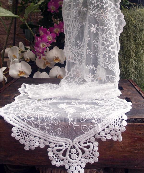 white soft embroidered lace tulle 12in runner and chair sash 74in long
