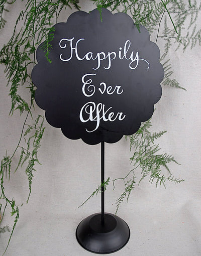 "22"" Scalloped Round Metal Chalkboard with Stand"