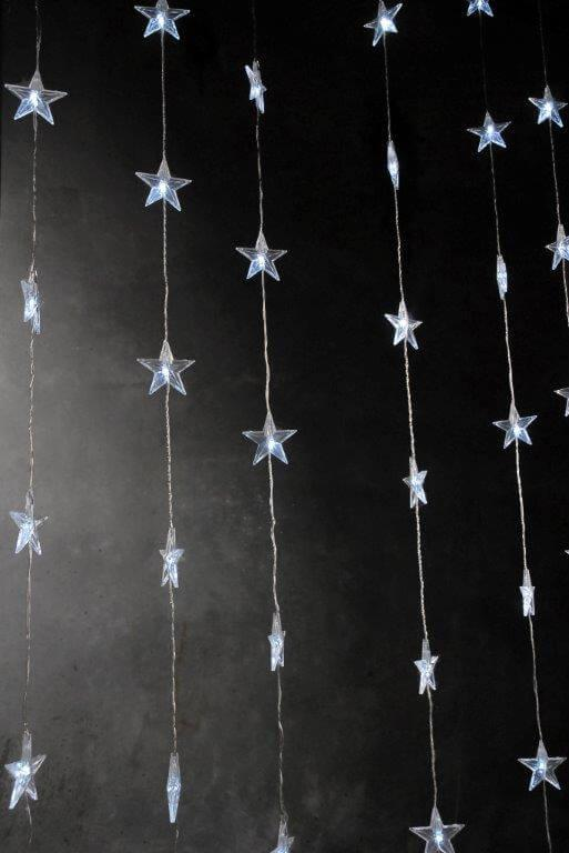 LED Star Curtain 47in x 72in Clear