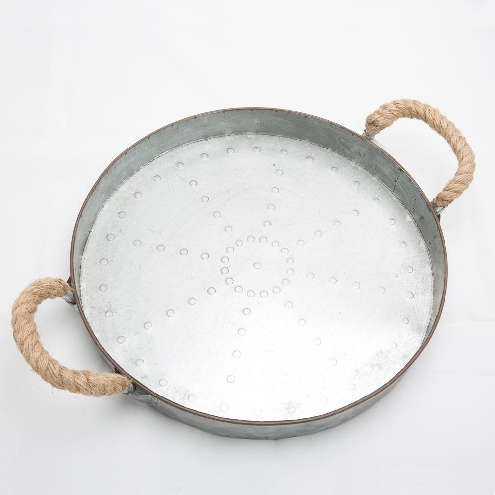 "16"" Rope Handle Galvanized Serving Tray"