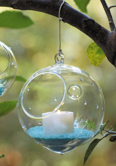 Pointelle Hanging Glass 4.5in Globe Candle Holder & Terrarium