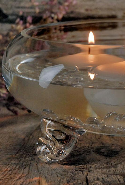 clear glass footed 9 5in floating candle bowl