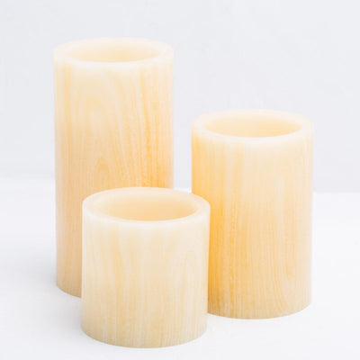 richland flameless led pillar candle birch 4 x 6 set of 12