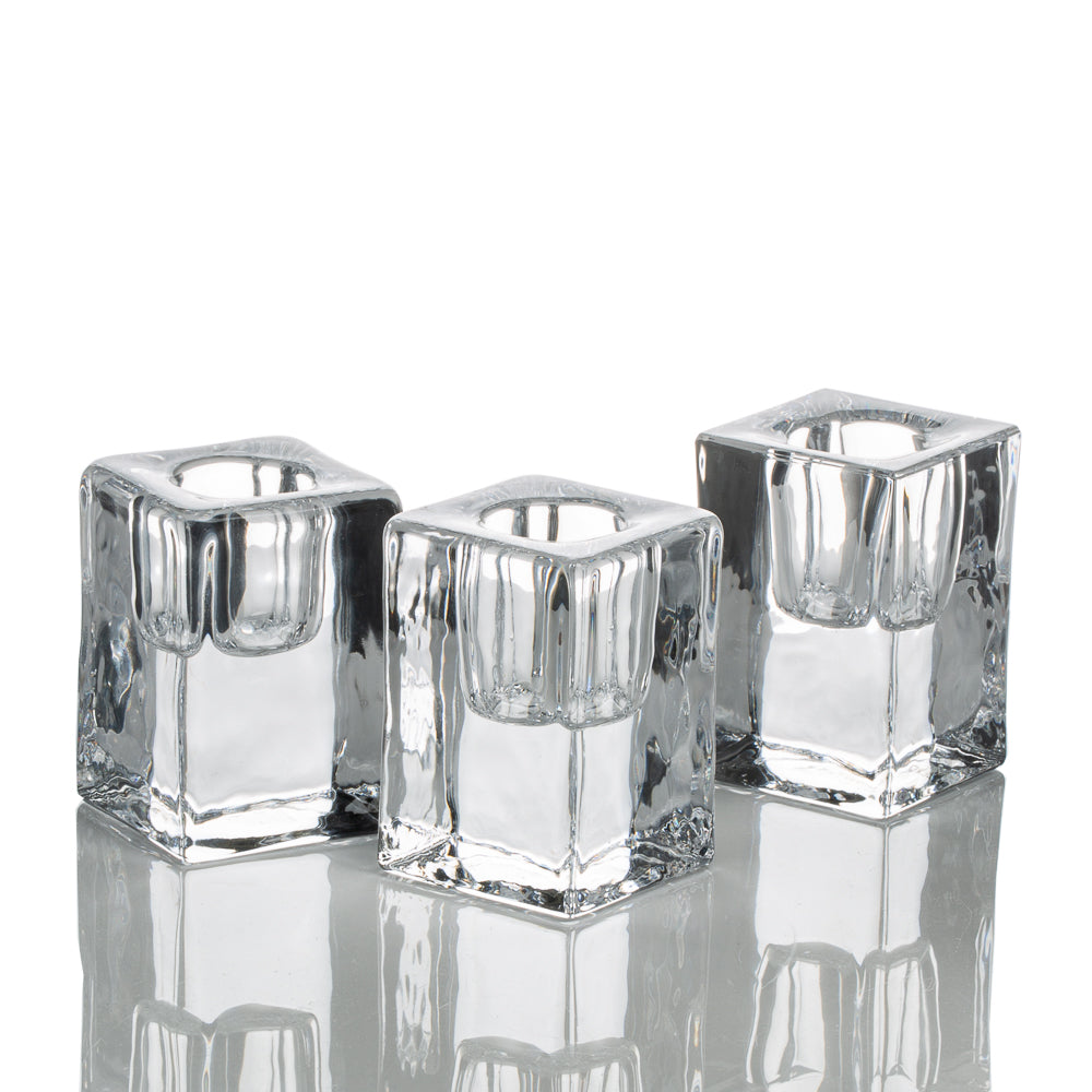 richland square glass taper candle holder 2 5 set of 48