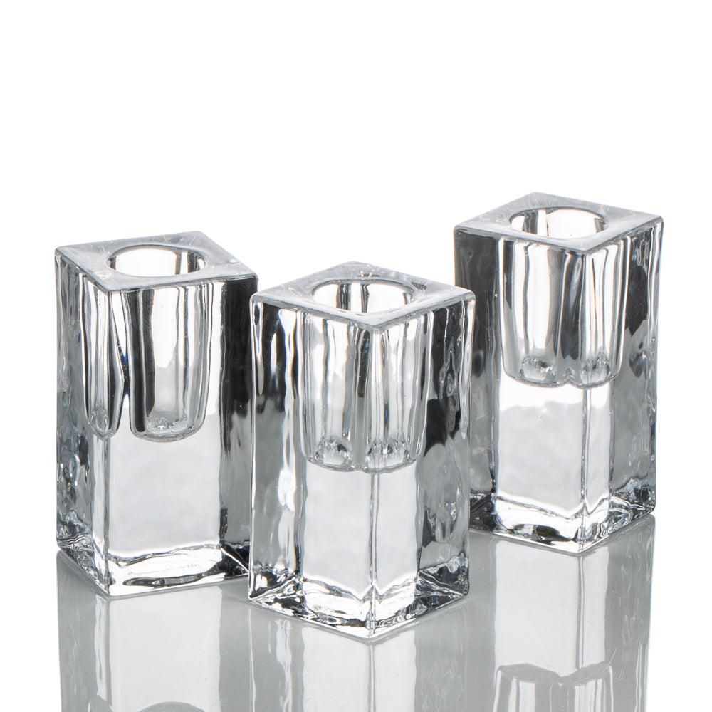 richland square glass taper candle holder 3 set of 6