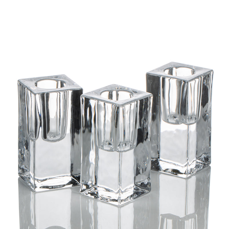richland square glass taper candle holder 3 set of 48