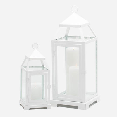 Richland White Contemporary Metal Lantern with Clear Glasses - Small
