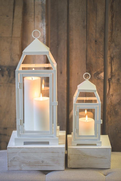 richland white contemporary metal lantern with clear glasses small
