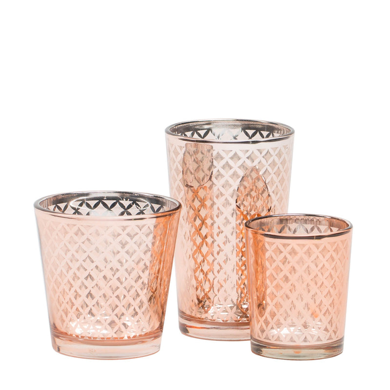 Richland Rose Gold Lattice Glass Holder - Medium Set of 48