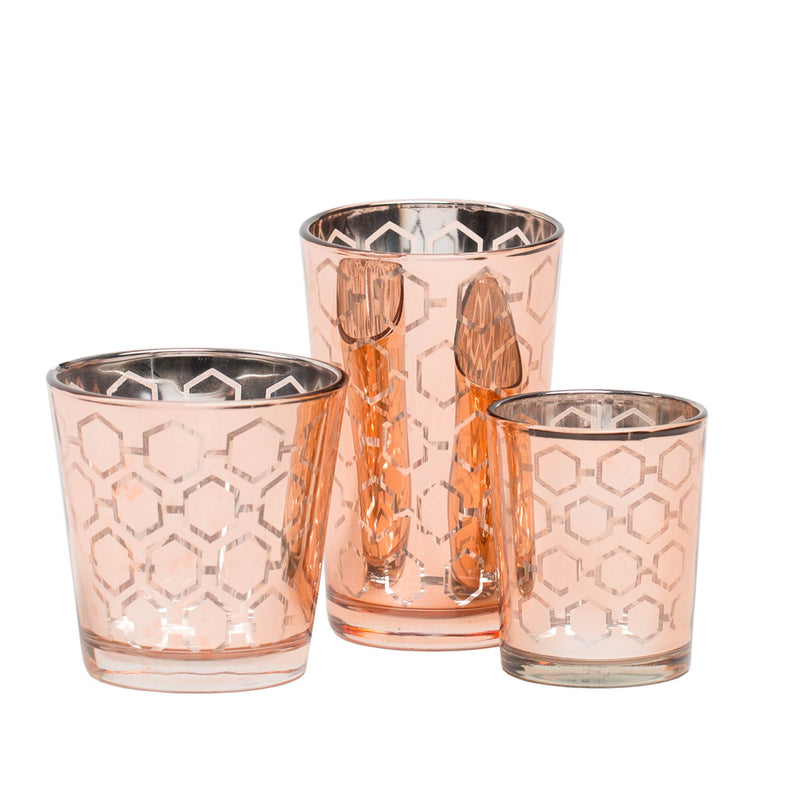 richland rose gold hexagonal glass holder medium set of 48