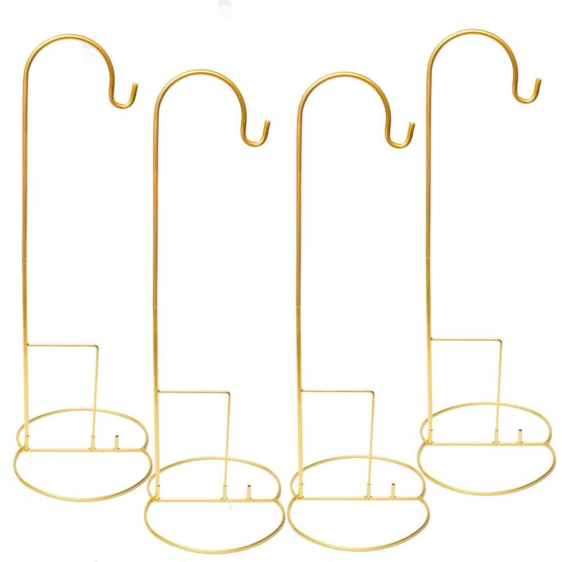 "Eastland 48"" Gold Shepherd Hooks and Eastland Gold Simple Shepherd Hook Base Set of 8"