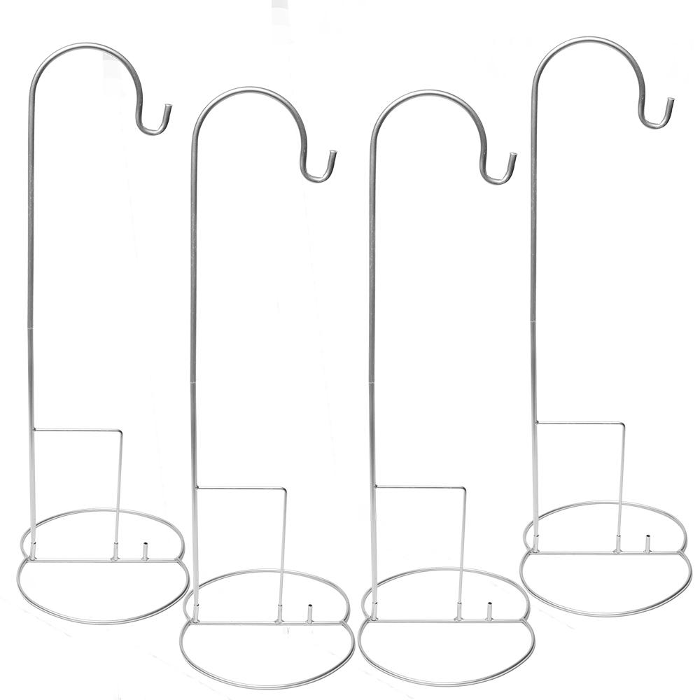 "Eastland 48"" Silver Shepherd Hooks and Eastland Silver Simple Shepherd Hook Base Set of 8"