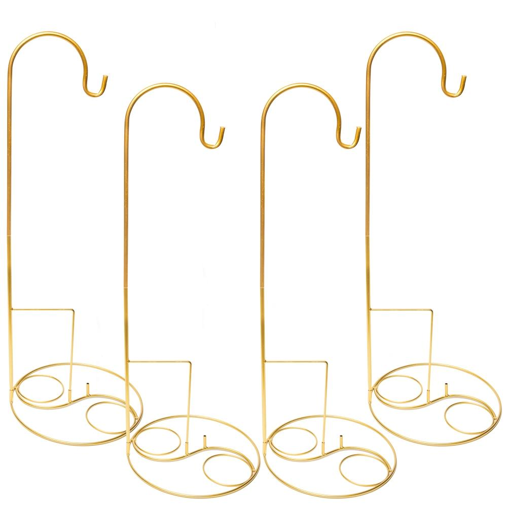 "Eastland 36"" Gold Shepherd Hooks and Eastland Gold Swirl Shepherd Hook Base Set of 8"