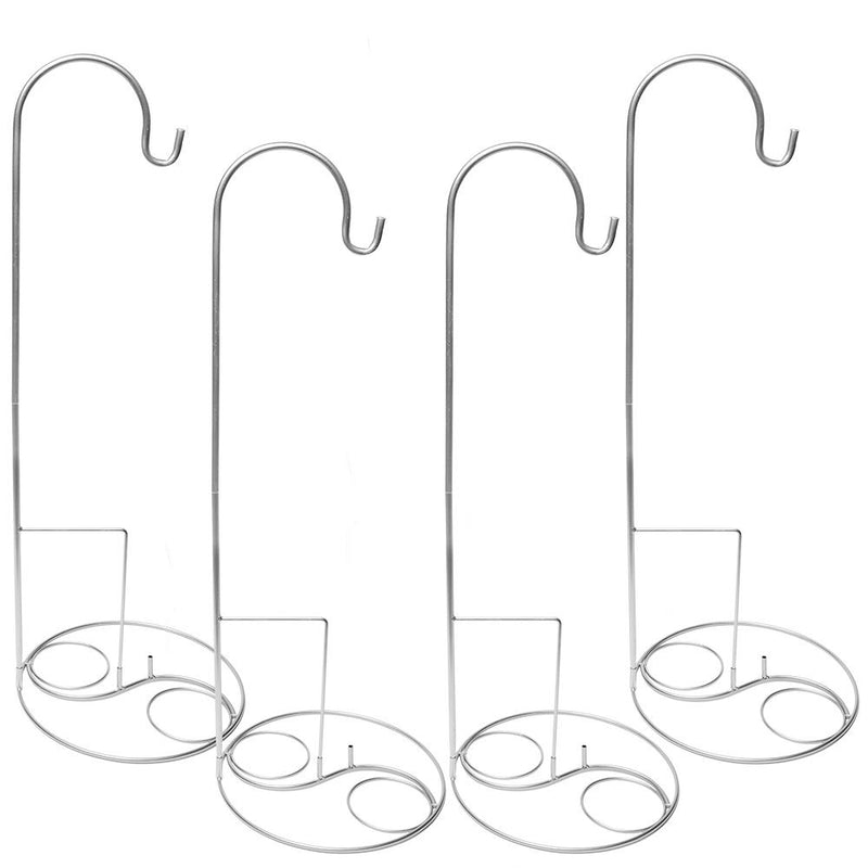 "Eastland 36"" Silver Shepherd Hooks and Eastland Silver Swirl Shepherd Hook Base Set of 8"