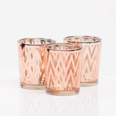 Richland Rose Gold Chevron Glass Holder - Small Set of 72