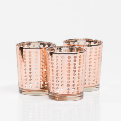 richland rose gold dotted glass holder small set of 12