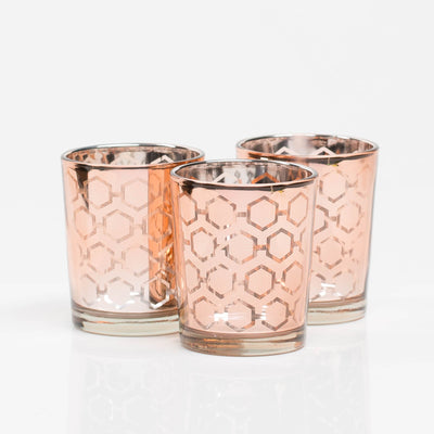 Richland Rose Gold Hexagonal Glass Holder - Small Set of 12