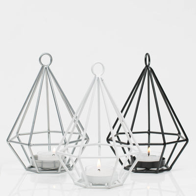richland geometric tealight candle holders black set of 12