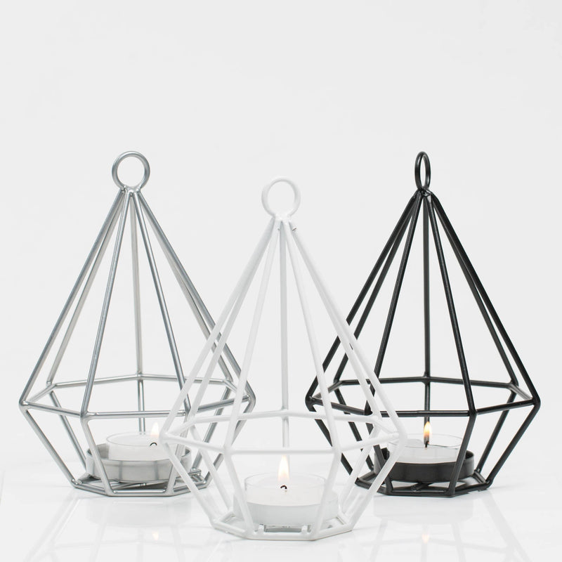 Richland Geometric Tealight Candle Holders - Black Set of 2