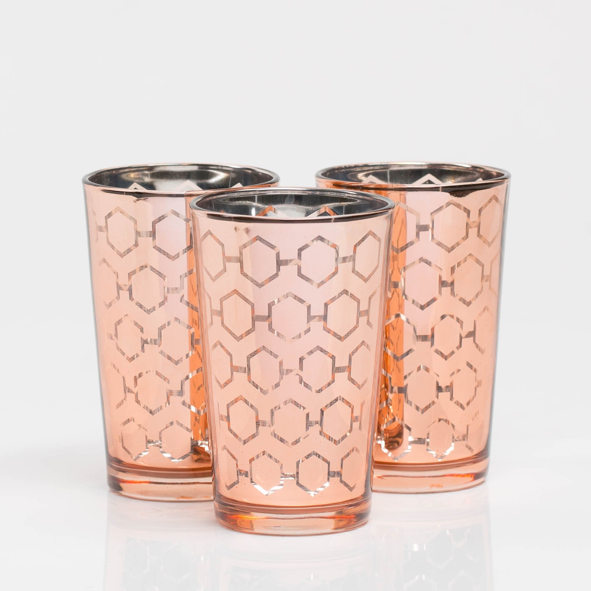 richland rose gold hexagonal glass holder large set of 6